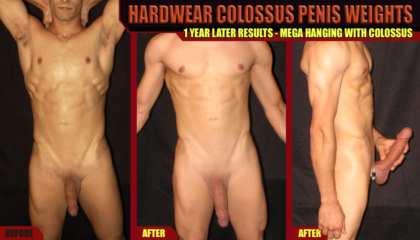 Penis weight hanging is another awesome way to pack on the inches. Considered by many in the enlargement space to be the best approach for serious gains, these results were obtained using the Colossus Mega Hanger by Hardwear. Photo Subject: penis hanging before and after, dick weights, cock weights, hanger ring, naked italian guy, penis exercise gains.