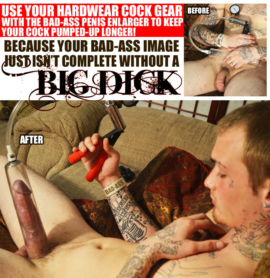 Penis Pumping is a great penis exercise to make your penis bigger. Photo Subject: penis pumping before and after, dick pump, cock pump, benefits of penis pump, naked tattooed guy pumping his penis.