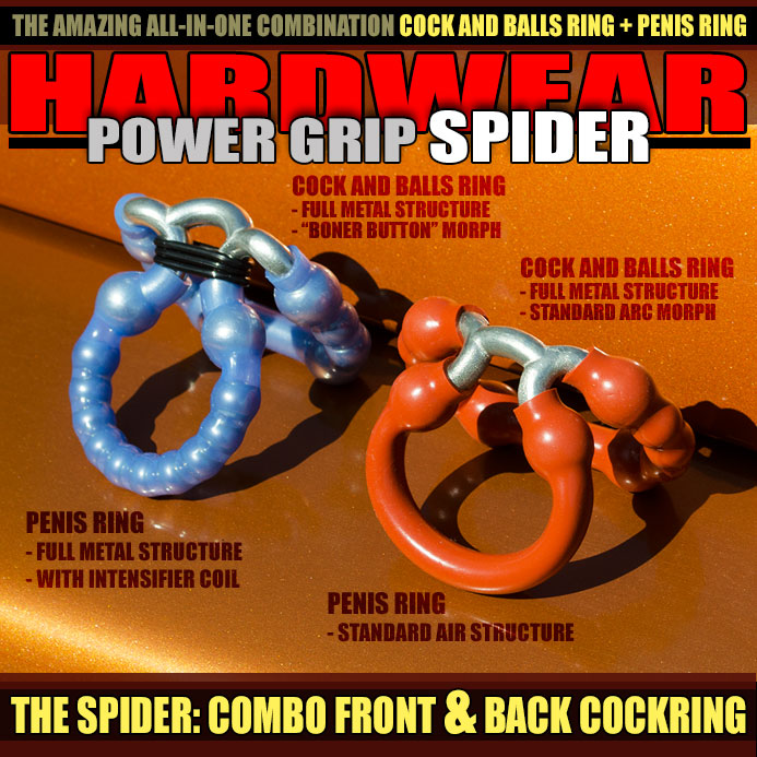 THE SPIDER: COMBO COCK AND BALLS RING \ PENIS RING - allknight.com: The Spider double cock ring features a power grip ring directly on a boy's cock shaft, and another behind his cock and balls, two rings in one so that there's no question of an unstoppable erection. And it's great for ADR (All Day Ring Wearing) too.