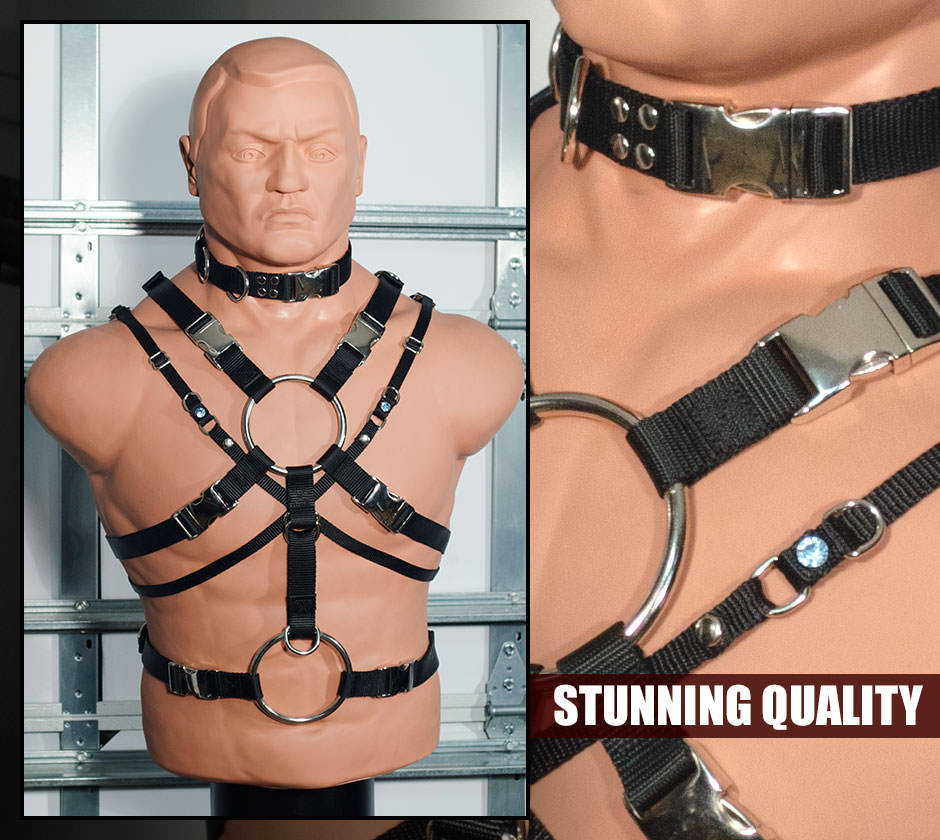 Our bdsm mens harness systems are both completely functional as awesome BDSM gear, featuring a host of inlaid D-ring and other BDSM restraint options, featuring the coolest and most elaborate designs. Mens full body harness. Mens chest harness. Mens shoulder harness.  Mens lingerie. We've got it all.
